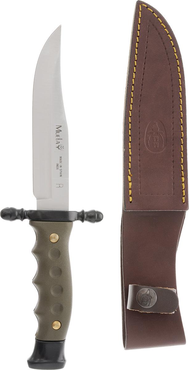 Нож охотничий Muela Лось, длина клинка 14 смM-115-1Нож Muela Лось - один из самых универсальных охотничьих ножей с фиксированным клинком. Благодаря закругленной форме клинка, он имеет многоцелевое назначение. Нож - незаменимый помощник профессионального охотника, туриста, путешественника, рыбака, дачника и т.д. С его помощью можно разделать тушу животного любого размера: будь то лось, олень или кабан. Охотник, орудуя ножом, легко снимет и шкуру животного. Эргономичная рукоятка, выполненная из пластика, отлично сидит в руке и не соскальзывает, даже если держишь нож мокрыми руками, т.к. снабжена специальным ограничителем. Данную модель ножа «Лось» отличает наличие сверхострого клинка с прямым обухом. Обух изготовлен из нержавеющей стали высокого качества, что является традицией компании Muela. Сталь подвергается высокотехнологической термообработке с целью достижения максимальной твердости металла. Кроме того, заводская заточка клинка охотничьего ножа «Лось» длительное время сохраняет свои качества в процессе работы. Форма клинка и сверхострое лезвие гарантируют эффективные колющие и режущие движения. К охотничьему ножу прилагается комплект кожаных ножен, обеспечивающих необходимую безопасность и защиту при ношении или в период хранения в сумке или рюкзаке.Прекрасный внешний вид, высокое качество изготовления позволяют изделию фирмы Muela стать украшением любой коллекции ножей. Нож «Лось» может стать отличным и оригинальным подарком для человека, увлекающегося охотой.Длина лезвия: 14 см.Общая длина ножа: 24,5 см.