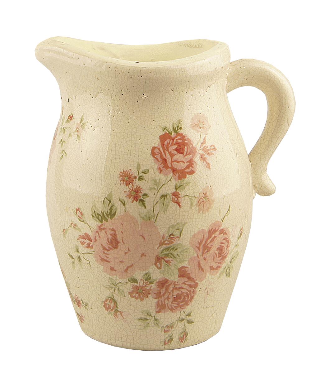 Ваза-кувшин Этажерка Rose, с ручкой, высота 21 см54 009312Ваза-кувшин Этажерка Rose выполнена из высококачественной керамики и имеет изысканный внешний вид. Изделие оснащено удобной ручкой. Ваза-кувшин Этажерка Athens станет идеальным украшением интерьера и прекрасным подарком к любому случаю. Высота вазы: 21 см.