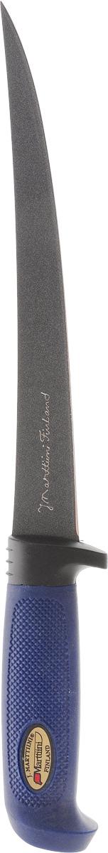 Нож разделочный Marttiini Тефлон, длина лезвия 23 смFK-A129Нож Marttiini Тефлон изготовлен из нержавеющей стали с покрытием Martef. Такой нож отлично подходит для разделки крупных овощей (капуста, свекла, кабачок) для нарезки больших кусков сырого и вареного мяса, разделки курицы, крупной рыбы. Им нарезают арбуз, дыню и тому подобное. Эргономичная рукоятка ножа выполнена из резины. Нож Marttiini Тефлон предоставит вам все необходимые возможности в успешном приготовлении пищи. Не резать на стеклянных и металлических поверхностях. Желательно использовать пластиковые и деревянные разделочные доски. Не рубить кости и замороженные продукты.Длина лезвия: 23 см.Общая длина ножа: 34 см.