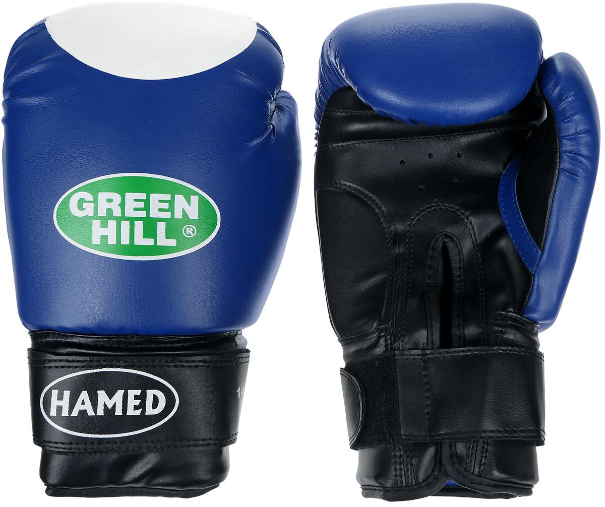 Перчатки боксерские Green Hill Hamed, цвет: синий, белый. Вес 14 унцийC131Боксерские перчатки Green Hill Hamed прекрасно подойдут для прогрессирующих спортсменов. Верх выполнен из искусственной кожи, наполнитель - из пенополиуретана. Перфорированная поверхность в области ладони позволяет создать максимально комфортный терморежим во время занятий. Широкий ремень, охватывая запястье, полностью оборачивается вокруг манжеты, благодаря чему создается дополнительная защита лучезапястного сустава от травмирования. Перчатки прекрасно сидят на руке. Застежка на липучке способствует быстрому и удобному надеванию перчаток, плотно фиксирует перчатки на руке.
