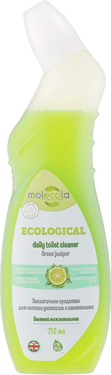 Средство для ванной и туалета Molecola Green Juniper, зеленый можжевельник, 750 мл935159Molecola Green Juniper - это эффективное экологичное средство для чистки унитазов и сантехники с ароматом можжевельника и зеленого бергамота. Средство легко очищает и удаляет известковый налет, безопасно для кожи и дыхательных путей. Рекомендовано людям, имеющим аллергическую реакцию на средства бытовой химии. Новая формула на основе безопасных растительных ингредиентов обеспечивает высокую эффективность и экологичность использования.Состав: вода, Товар сертифицирован.