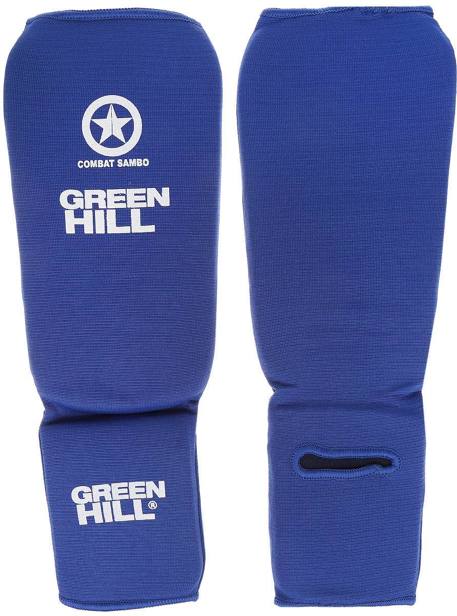 Защита голени и стопы Green Hill Combat Sambo, цвет: синий, белый. Размер M. SC-61312AIRWHEEL Q3-340WH-BLACKЗащита голени и стопы Green Hill Combat Sambo с наполнителем, выполненным из вспененного полимера, необходима при занятиях спортом для защиты пальцев и суставов от вывихов, ушибов и прочих повреждений. Накладки выполнены из высококачественного полиэстера и хлопка.Длина голени: 26,5 см.Ширина голени: 15 см.Длина стопы: 14,5 см.Ширина стопы: 11 см.