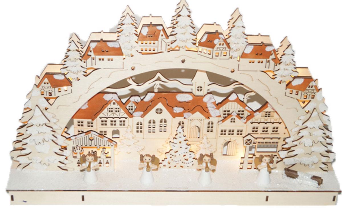 Декорация рождественская Svetlitsa Городок, цвет: коричневый. 15-10255041Декорация рождественский городок выс/дл. 28х45,5 см, 11 LED ламп