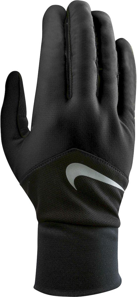 Перчатки для бега женские Nike Dri-Fit Tempo, цвет: черный, серебристый. Размер LDRIW.611.IN - Материал с технологией Dri-FIT обеспечивает быстрое впитывание влаги и ее испарение, что позволяет оставаться коже сухой. - Сетчатые вставки с Dri-Fit эффектом обеспечивают оптимальную воздухопроницаемость. - Кончик указательного и большого пальца выполнены из материала совместимого с сенсорным дисплеем. - Эргономичная форма, повторяющая очертания руки в расслабленном состоянии. - Силиконовые вставки на внутренней части перчаток повышают сцепление. - Светоотражающий логотип обеспечивает визуальную узнаваемость бренда и повышает видимость при слабом освещении.