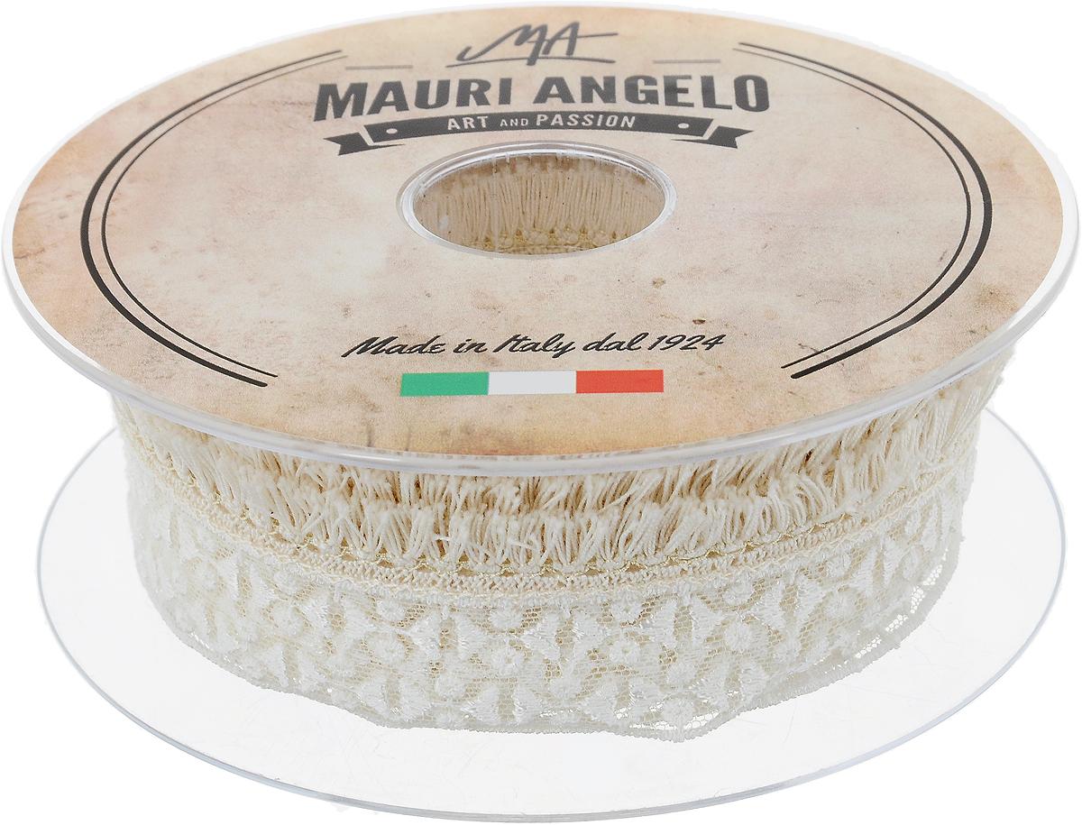 Лента кружевная Mauri Angelo, цвет: белый, бежевый, 2 см х 10 м. MR897Z169/ENLED-454-9W-BKДекоративная кружевная лента Mauri Angelo выполнена из высококачественных материалов. Кружево применяется для отделки одежды, постельного белья, а также в оформлении интерьера, декоративных панно, скатертей, тюлей, покрывал. Главные особенности кружева - воздушность, тонкость, эластичность, узорность.Такая лента станет незаменимым элементом в создании рукотворного шедевра.