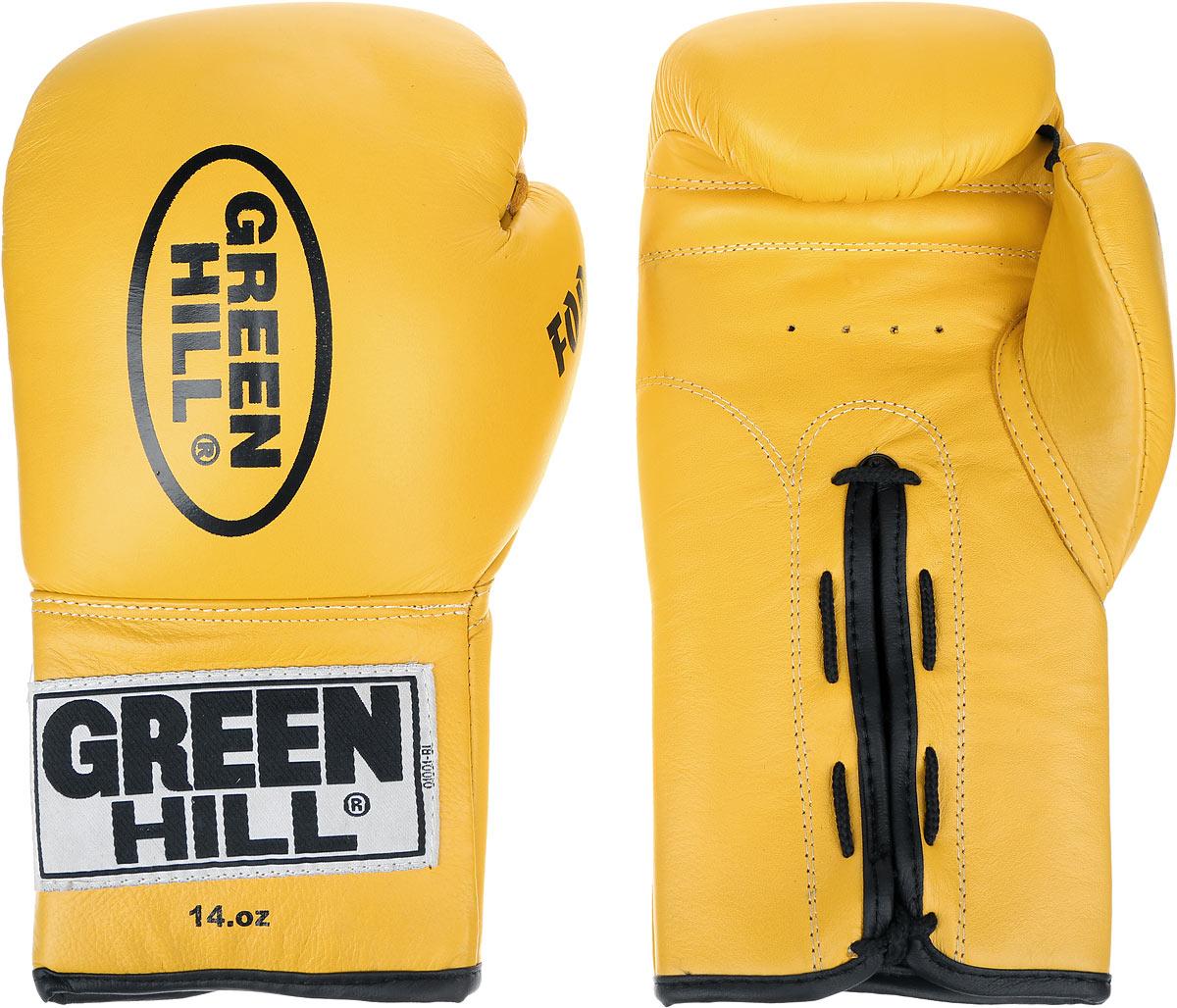 Перчатки боксерские Green Hill Force, цвет: желтый, черный. Вес 14 унций. BGF-1215AIRWHEEL Q3-340WH-BLACKБоксерские перчатки Green Hill Force предназначены для использования профессионалами и любителями. Верх выполнен из натуральной кожи, наполнитель - из вспененного полимера. Отверстия в области ладони позволяет создать максимально комфортный терморежим во время занятий. Манжет на шнуровке способствует быстрому и удобному надеванию перчаток, плотно фиксирует перчатки на руке.