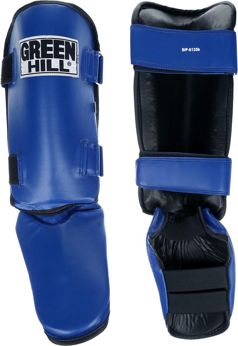 Защита голени и стопы Green Hill, цвет: синий, черный. Размер S. SIPS-6135bSIB-0016Защита голени и стопы Green Hill необходима при занятиях спортом для защиты пальцев и суставов от вывихов, ушибов и прочих повреждений. Выполнена из высококачественной натуральной кожи. Наполнитель изготовлен из вспененного полимера.Защита закрепляется при помощи ремней на липучках. Защита правильно подобранного размера надежно сидит на ноге, не спадает и не сваливается во время поединка.Длина голени: 31 см.Ширина голени: 16 см.Длина стопы: 23 см.Ширина стопы: 16 см.