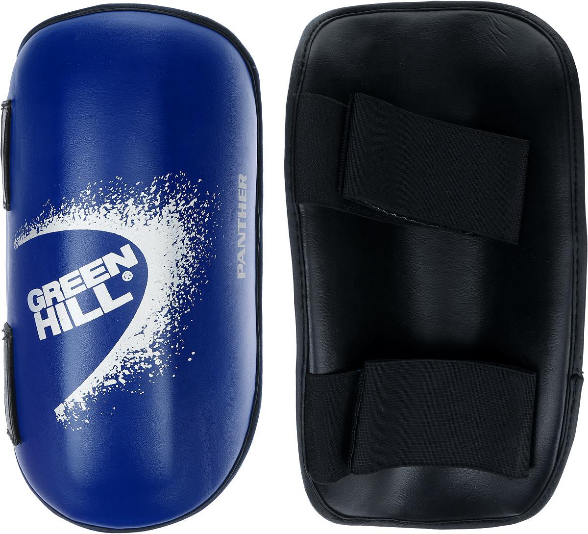 Защита голени Green Hill Panther, цвет: синий, белый. Размер XL. G-2123AP200160Защита голени Green Hill Panther с наполнителем, выполненным из вспененного полимера, необходима при занятиях спортом для защиты суставов от вывихов, ушибов и прочих повреждений. Накладки выполнены из высококачественной искусственной кожи. Закрепляются на ноге при помощи эластичных лент и липучек.Длина голени: 36 см.Ширина голени: 13,5 см.