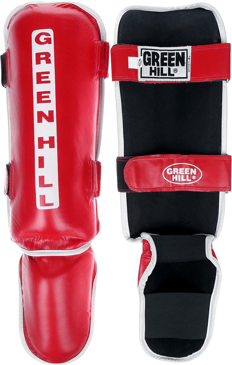 Защита голени и стопы Green Hill Classic, цвет: красный, белый. Размер S. SIC-0019SX5346-100Защита голени и стопы Green Hill Classic с наполнителем, выполненным из вспененного полимера, необходима при занятиях спортом для защиты пальцев и суставов от вывихов, ушибов и прочих повреждений. Накладки выполнены из высококачественной натуральной кожи. Они надежно фиксируются за счет ленты и липучек.Удобные и эргономичные накладки Green Hill Classic идеально подойдут для занятий тхэквондо и другими видами единоборств.Длина голени: 34 см.Ширина голени: 15 см.Длина стопы: 17 см.Ширина стопы: 12 см.