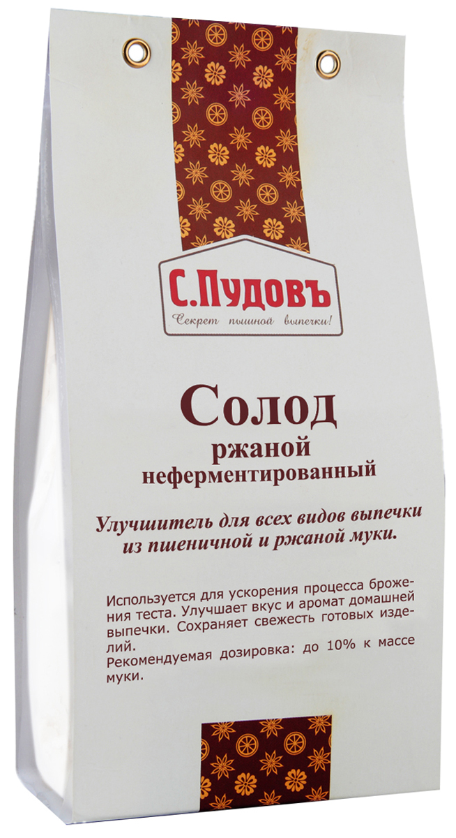 Пудовъ солод ржаной белый неферментированный, 200 г4607012296863Для производства белого солода зерно не томится (не ферментируется), его сразу сушат и размалывают. Белый солод используют для выпекания такого хлеба, как рижский, деликатесный. Используется практически во всех видах американского или европейского пшеничного теста.