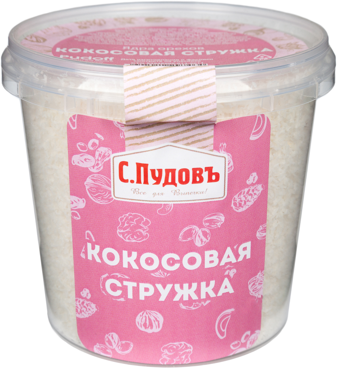 Пудовъ кокосовая стружка, 120 г0120710Кокосовая стружка Пудовъ хорошо сочетается с кондитерскими изделиями. Ее можно использовать как посыпку или добавлять в тесто, крем.