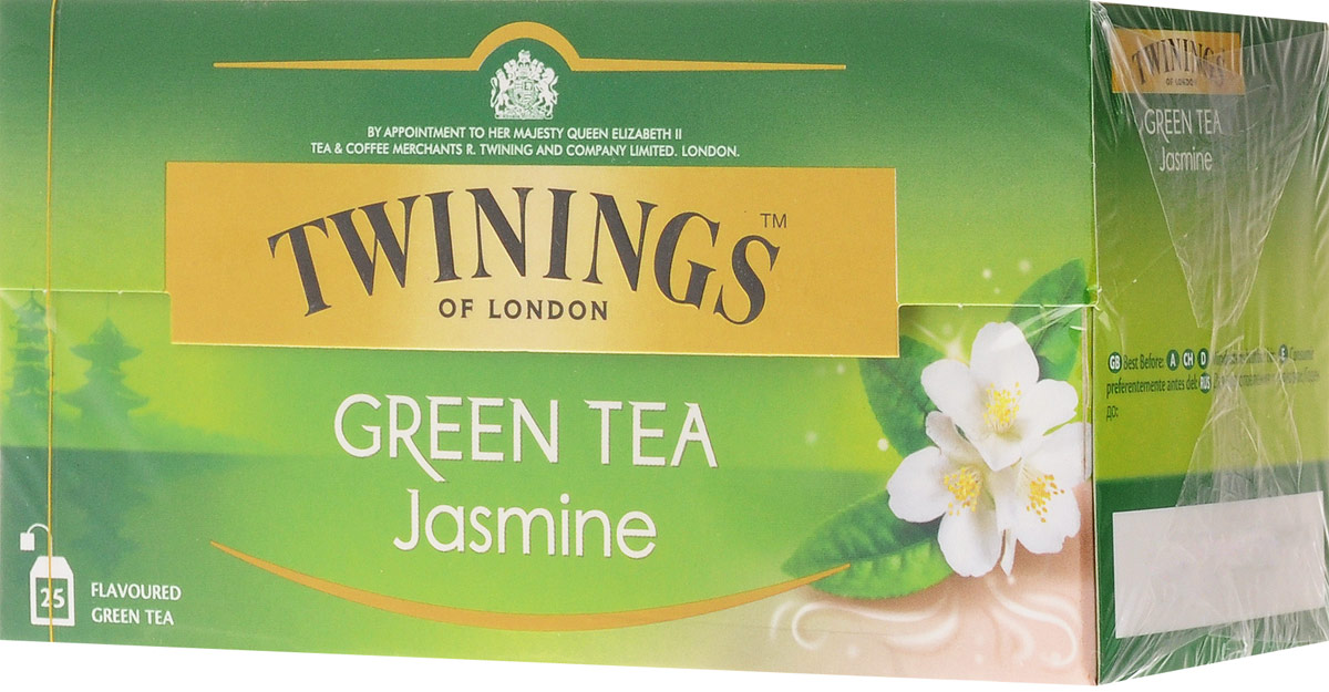 Twinings Green Tea & Jasmine зелёный чай с цветами жасмина в пакетиках, 25 шт 150g china tea new promotion organic jasmine flower tea green tea secret gift free shipping jasmine green tea
