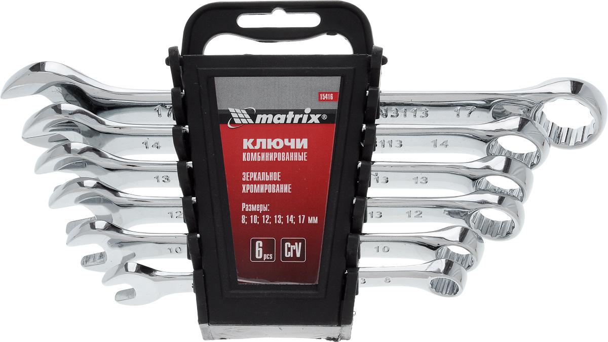 Набор комбинированных ключей Matrix, полированный хром, 6 шт98298130Набор комбинированных ключей Matrix станет отличным помощником монтажнику или владельцу авто. Этот набор обеспечит надежную фиксацию на гранях крепежа. Ключи изготовлены из полированной хромованадиевой стали. Твердость материала рабочей части ключей составляет 48 HRc (требования ГОСТ 45-51 HRc). Профиль кольцевого зева имеет 12 граней, что увеличивает площадь соприкосновения рабочих поверхностей и снижает риск деформации граней крепежа при монтаже.В набор входят ключи на 8, 10, 12, 13, 14, 17 мм.