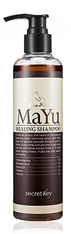 Secret Key Шампунь MAYU Healing лечебный, 250 млMP59.4DШампунь Secret Key MAYU Healing балансирует жирность (особенно хорошо подходит для тех, у кого жирные корни). Избавляет от перхоти, устраняет зуд и проблемы кожи головы, способствует росту и укреплению волос. В состав входит очищенный конский жир, экстракт грецкого ореха, экстракты персиковых листьев, экстракт черной сои и китайской дерезы (lycium chinese) вторая основная функция шампуня - поддержание водного баланса кожи головы и улучшение роста волос. Этому способствуют 11 трав, входящих в состав шампуня. Укрепляются кутикулы волос и улучшается их структура.