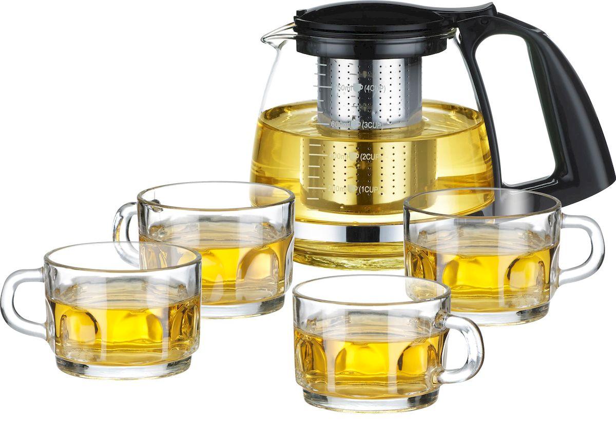Набор чайный Calve, 5 предметов. CL-700768/5/3Набор чайный Calve имеет элегантный и практичный дизайнИдеально подходит для заваривания чая и травВысококачественное жаростойкое стеклоРазборная конструкция для удобства уходаПластиковые части корпуса из пищевого пластикаФильтр из нержавеющей стали удерживает чаинки от попадания в чашкиЖаропрочность стекла до 100°Чайный набор состоит из: стеклянный чайник 750 мл стеклянная чашка 150 мл - 4 шт. Советы по уходу и использованию:Чайник не предназначен для нагрева на плите или на открытом огнеНе рекомендуется мыть чайник в посудомоечной машинеЕсли на стекле появились трещины, прекратите использование чайникаНе ставьте горячий чайник на холодную поверхность, используйте подставку под горячее.