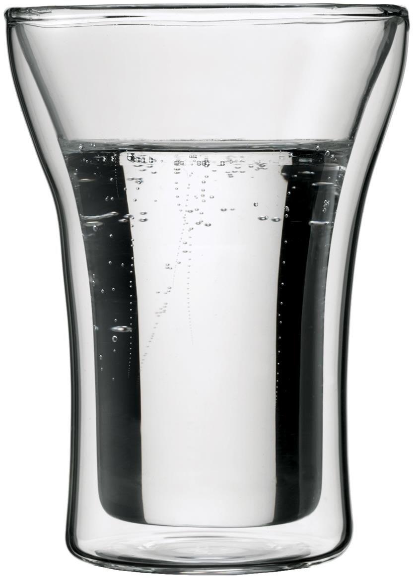 Набор термобокалов Bodum Assam, 250 мл, 2 шт. 4556-1055531BD6Набор термобокалов Bodum Assam выполнены из двойного боросиликатного стекла, что позволяет не только держать горячие напитки горячими в течение более длительного времени, но он также позволяет холодным напиткам оставаться холодными дольше. Боросиликатное стекло создает впечатление, будто напиток плавает внутри термобокала. Он намного легче, чем стакан из обычного стекла. Еще одна приятная особенность - отсутствие конденсата, что препятствует возникновению грязных следов от бокала. Термобокалы можно использовать в микроволновой печи и мыть в посудомоечной машине. Боросиликатное стекло выдерживает температуры от -30°C до +520°C.