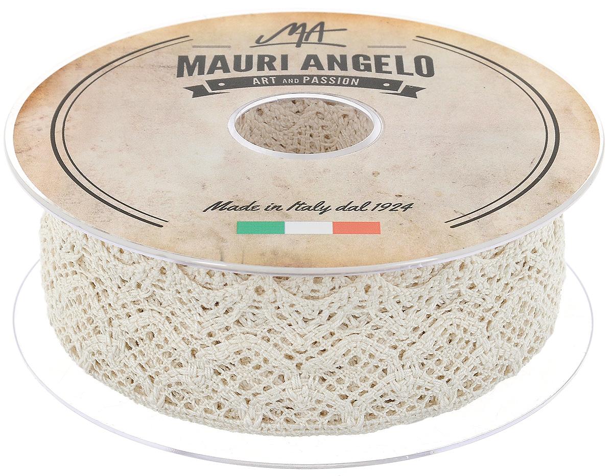Лента кружевная Mauri Angelo, цвет: бежевый, 5 см х 10 мC0042416Декоративная кружевная лента Mauri Angelo - текстильное изделие без тканой основы, в котором ажурный орнамент и изображения образуются в результате переплетения нитей. Кружево применяется для отделки одежды, белья в виде окаймления или вставок, а также в оформлении интерьера, декоративных панно, скатертей, тюлей, покрывал. Главные особенности кружева - воздушность, тонкость, эластичность, узорность.Декоративная кружевная лента Mauri Angelo станет незаменимым элементом в создании рукотворного шедевра. Ширина: 5 см.Длина: 10 м.