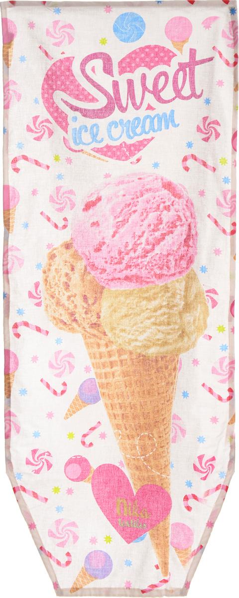 Чехол для гладильной доски Nika Ice Cream, универсальный, 129 х 51 смЧ2_ Ice CreamЧехол Nika Ice Cream, выполненный из хлопка, продлит срок службы вашей гладильной доски. Чехол снабжен стягивающим шнуром, при помощи которого вы легко отрегулируете оптимальное натяжение и зафиксируете чехол на рабочей поверхности гладильной доски. Чехол оформлен красивым рисунком, что оживит внешний вид вашей гладильной доски. Размер чехла: 129 х 51 см. Максимальный размер доски: 125 х 42 см.