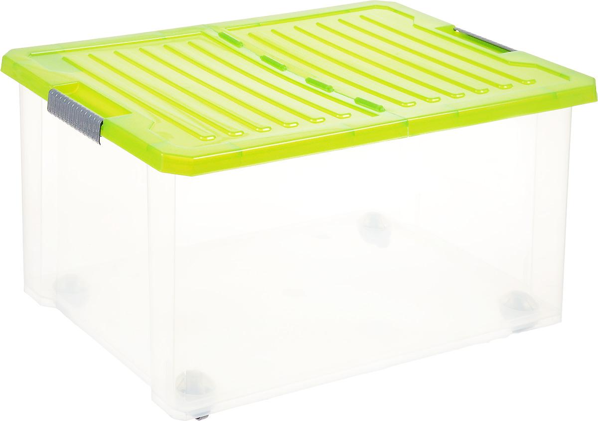 Ящик для хранения BranQ Unibox, на колесиках, цвет: зеленый, прозрачный, 57 л1004900000360Универсальный ящик для хранения BranQ Unibox, выполненный из прочного пластика, поможет правильно организовать пространство в доме и сэкономить место. В нем можно хранить все, что угодно: одежду, обувь, детские игрушки и многое другое. Прочный каркас ящика позволит хранить как легкие вещи, так и переносить собранный урожай овощей или фруктов. Изделие оснащено складной крышкой, которая защитит вещи от пыли, грязи и влаги. С помощью колесиков на дне изделия ящик легко перемещать по комнате. Эргономичные ручки-защелки, позволяют переносить ящик как с крышкой, так и без нее.