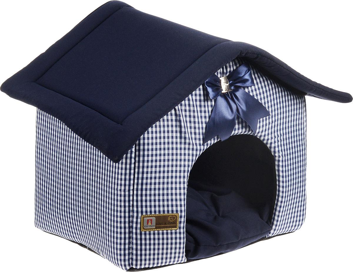 Лежак для собак и кошек Зоогурман Ампир, цвет: синий, 45 х 40 х 45 см1970Мягкий и уютный лежак Зоогурман Ампир обязательно понравится вашему питомцу. Лежак выполнен из плотного, приятного материала. Внутри - мягкий наполнитель, который не теряет своей формы долгое время. Лежак представляет собой домик, со съемной крышей и съемным внутренним матрасиком. Над главным входом красивый бант в тон основного цвета лежака. Закрытый лежак в виде домика обеспечит вашему любимцу уют и комфорт. За изделием легко ухаживать, можно стирать вручную или в стиральной машине при температуре 40°С. Материал: нейлоновые микроволоконные и шерстяные ткани.Наполнитель: гипоаллергенное синтетическое волокно.Наполнитель матрасика: шерсть.