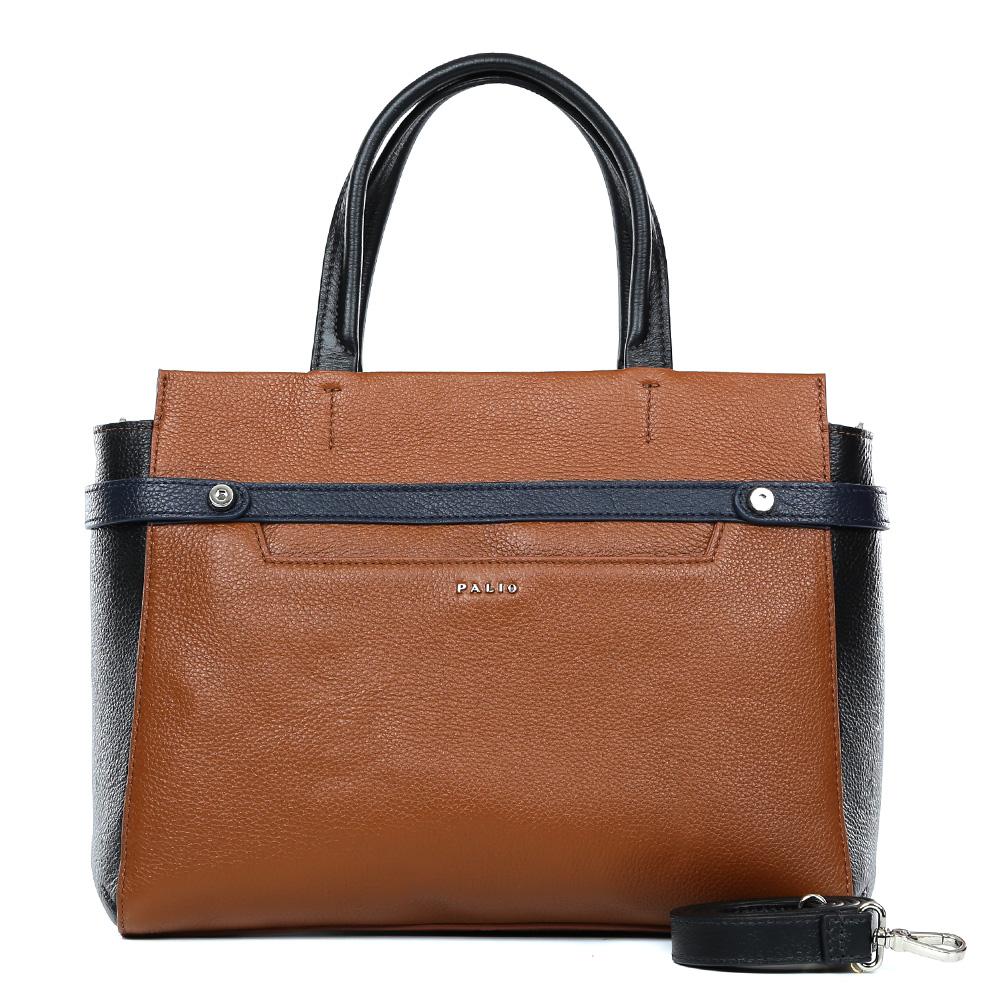 Сумка женская Palio, цвет: коричневый, черный. 14636A1-W2-558/018EQW-M710DB-1A1Классическая женская сумка от итальянского бренда Palio выполнена из натуральной плотной кожи, которая держит форму и имеет мягкую пористую фактуру. Дизайнерская комбинация модного ярко-рыжего оттенка и классического черного цвета придают изделию неповторимую изысканность и элегантность. Тонкие ручки, фурнитура выполненная в серебре, вместительный карман и строгий дизайн превращают сумку в изящный и стильный аксессуар, который подойдет, как для повседневных, так и для деловых образов. На тыльной части сумки дизайнеры расположили удобный карман на молнии с кожаным поводком. Сумка имеет одно внутреннее отделение, которое разделяется карманом на два глубоких отсека. Дизайнеры позаботились и об удобстве аксессуара: на внутренних боковых стенках они разместили карманы для различных женских мелочей. Изделие вмещает документы и папки формата A4.