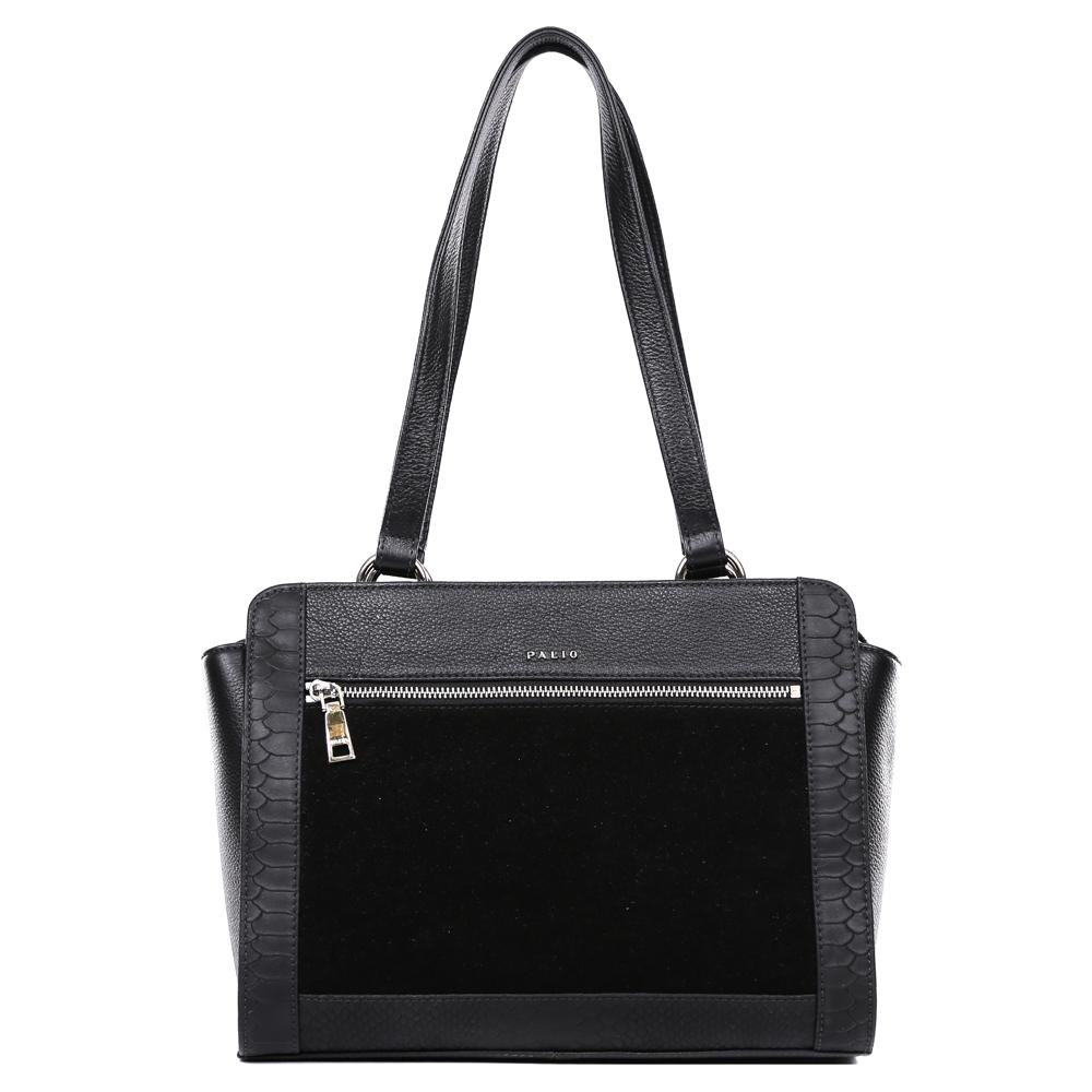 Сумка женская Palio, цвет: черный. 14701A-W1-018/018101248Невероятно изысканная сумка от итальянского бренда Palio выполнена из натуральной плотной кожи с элегантной замшевой вставкой и роскошным тиснением под рептилию. Классический черный цвет, фурнитура выполненная под серебро и уникальное сочетание разных фактур на кожи создают настоящий и невероятно актуальный в этом сезоне шедевр, который без сомнения подчеркнет вашу аристократичность и статусность. Удобное крепление ручек, стильный лицевой карман, - все это дополнит ваш изящный образ. Сумка имеет одно вместительное отделение, которое разделено карманом на молнии. Внутри аксессуара вы с легкостью расположите свой сотовый телефон и другие женские мелочи за счет удобных карманов. На тыльной стороне модели дизайнеры разместили вместительный карман, который закрывается на стильную молнию с кожаным поводком. Сумка с легкостью вмещает формат A4.