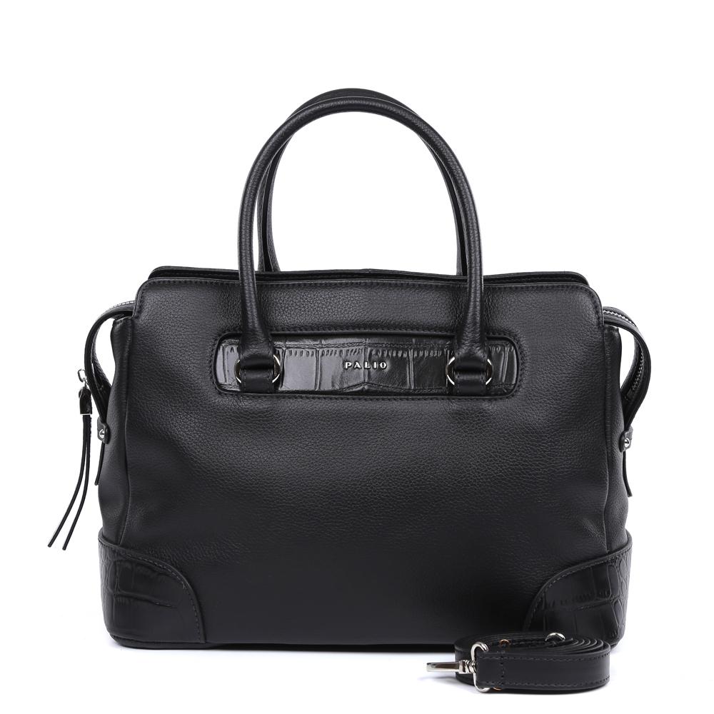 Сумка женская Palio, цвет: черный. 14748AR-W1-018/018EQW-M710DB-1A1Роскошная сумка от итальянского бренда Palio выполнена из натуральной плотной кожи, которая держит форму и имеет мягкую фактуру. Классический черный цвет, изысканная серебряная фурнитура, длинные кожаные поводки – именно такая модель должна быть в гардеробе каждой модницы. В отделке аксессуара дизайнеры использовали ультрамодное тиснение под рептилию. С такой сумкой вы будете самой элегантной и самой стильной. Сумка имеет одно отделение, которое внутри разделено на два вместительных отсека. Внутри аксессуара вы с легкостью расположите свой сотовый телефон и другие женские мелочи за счет удобных отделений. Изделие не вмещает формат A4. В комплекте аксессуар имеет тонкий кожаный ремешок, благодаря чему сумку можно носить на плече.
