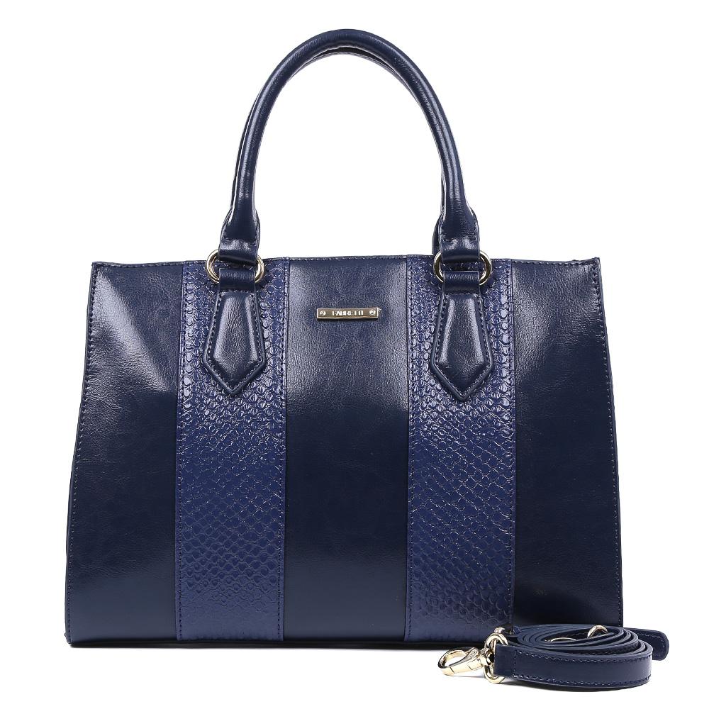 Сумка женская Fabretti, цвет: синий. CSN295210130-11Яркая сумка от итальянского бренда Fabretti выполнена из натуральной кожи, которая имеет мягкую и нежную фактуру. Стильный темно-синий цвет модели, отделка под рептилию и фурнитура, выполненная в золоте, подойдут к любому современному образу. Классический аксессуар дополнит как деловой, так и повседневный стиль. Сумка имеет одно вместительное отделение на застежке-молнии, которое вмещает папки формата A4. Внутри: прорезной карман на молнии, накладной карман на молнии, два накладных кармана для телефона и прочих мелочей, один из которых содержит прорезной карман на застежке-молнии. На тыльной стороне изделия находится вместительный карман, который закрывается на стильную молнию с металлическим поводком. В комплект входит съемный ремешок, который регулируется по длине. Прилагается фирменный текстильный чехол для хранения.