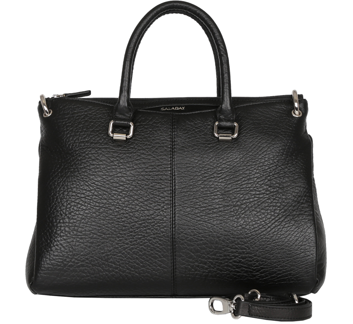 Сумка женская Galaday, цвет: черный. GD5220ML597BUL/DЭлегантная женская сумка Galaday изготовлена из качественной натуральной кожи. Модель закрывается на застежку-молнию. Внутри имеются дополнительные карманы. С внешней задней стороны сумки расположен врезной карман на застежке-молнии. Сумка оснащена удобными ручками и плечевым ремнем, который можно регулировать по длине.