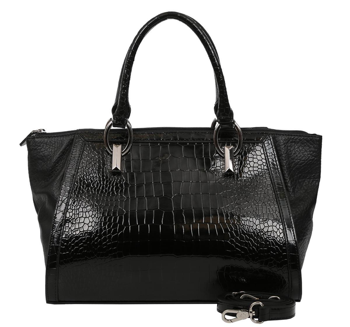 Сумка женская Galaday, цвет: черный. GD57433-47660-00504Элегантная женская сумка Galaday изготовлена из качественной натуральной кожи. Модель закрывается на застежку-молнию. Внутри имеются дополнительные карманы. С внешней задней стороны сумки расположен врезной карман на застежке-молнии. Сумка оснащена удобными ручками и плечевым ремнем, который можно регулировать по длине.