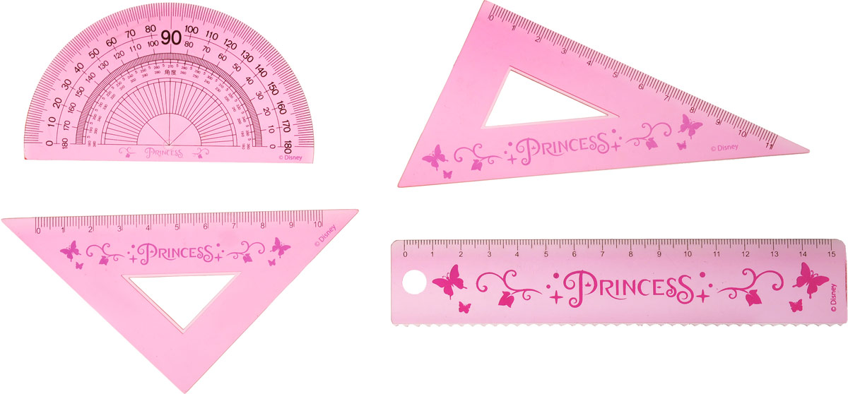 Disney Princess Канцелярский набор цвет розовый 5 предметов72523WDКанцелярский набор Disney Princess станет незаменимым атрибутом в учебе любой школьницы.Он включает в себя мягкий пенал из ПВХ, линейку, транспортир и два треугольника. Все линейки выполнены из прочного полистирола розового цвета.