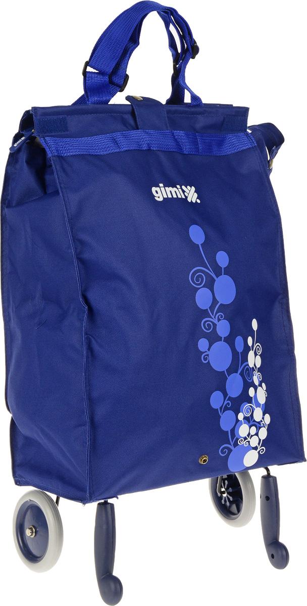 Сумка-тележка Gimi Bella, цвет: синий, 38 л1505460010001Хозяйственная сумка-тележка Gimi Bella выполнена из высококачественного полиэстера со стальным каркасом. Она оснащена 1 вместительным отделением, закрывающимся с помощью застежки-молнии. Сумка водоустойчива, оснащена 2 колесами, обеспечивающими удобство транспортировки. Для компактного хранения сумку можно сложить.Максимальная нагрузка: 15 кг.