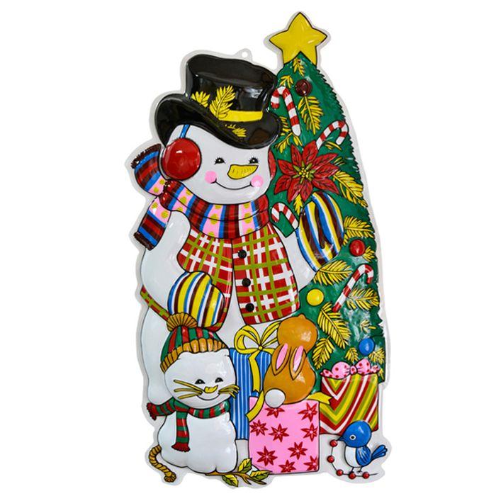Панно Winter Wings Снеговик с елкой, 80 х 43 см. N0913643880Панно СНЕГОВИК С ЕЛКОЙ, 80х43 см, ПВХ