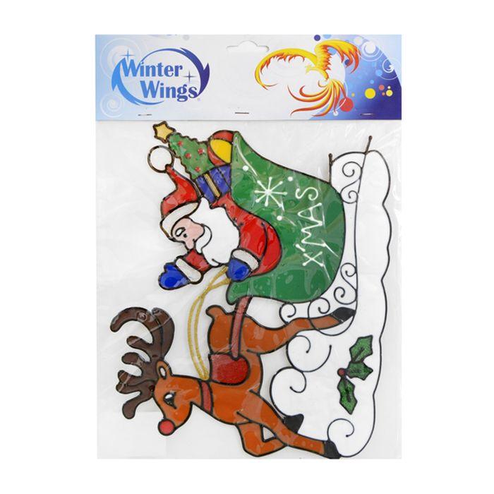 Наклейка-панно декоративная Winter Wings Санта с оленем, на стекло, 37 х 27 см. N09201N09199Наклейка-панно декоративная на стекло, САНТА С ОЛЕНЕМ, гелевая, 1 шт. в пакете, 31х27 см