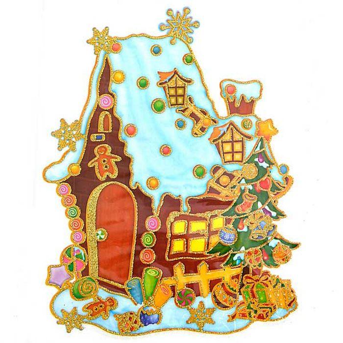 Наклейка-панно декоративная Winter Wings Домик с елкой, 20 х 26 см. N09215N07720_розовый, серебристыйНаклейка панно ДОМИК С ЕЛКОЙ, прозрачная цветная с блестящей крошкой, 20х26 см , ПВХ