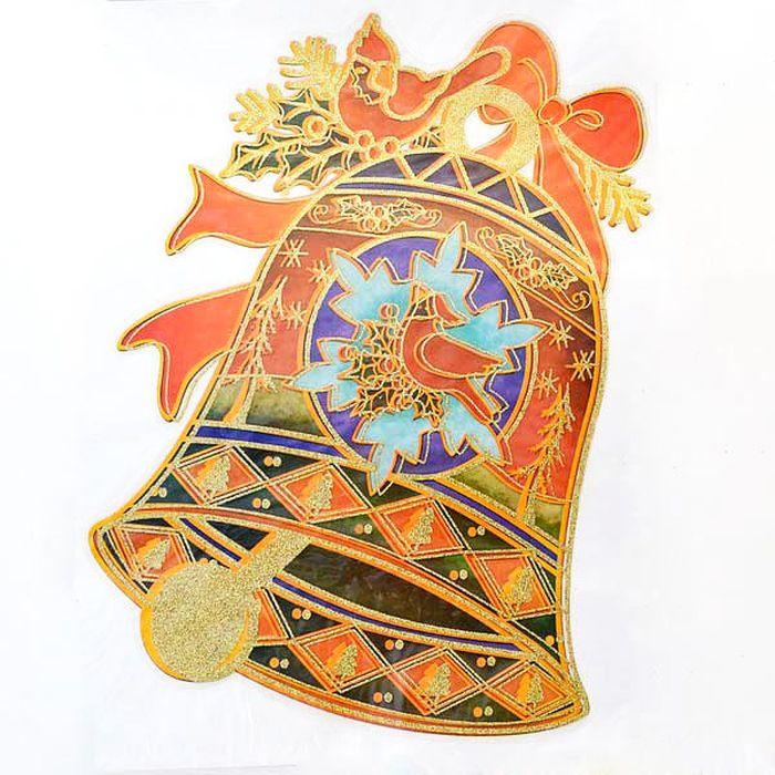 Наклейка-панно декоративная Winter Wings Колокольчик с птицей, 20 х 26 см. N09219 наклейки на окна наклейка панно новый год гелевая 20 20 см winter wings