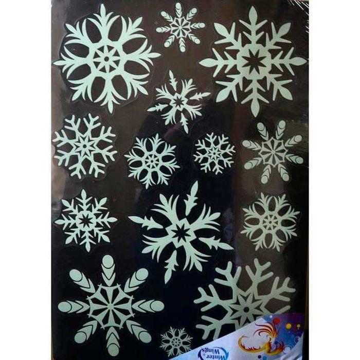Наклейка-панно декоративная Winter Wings Снежинки, светящаяся, 49 х 69 см. N09230 наклейки на окна наклейка панно новый год гелевая 20 20 см winter wings