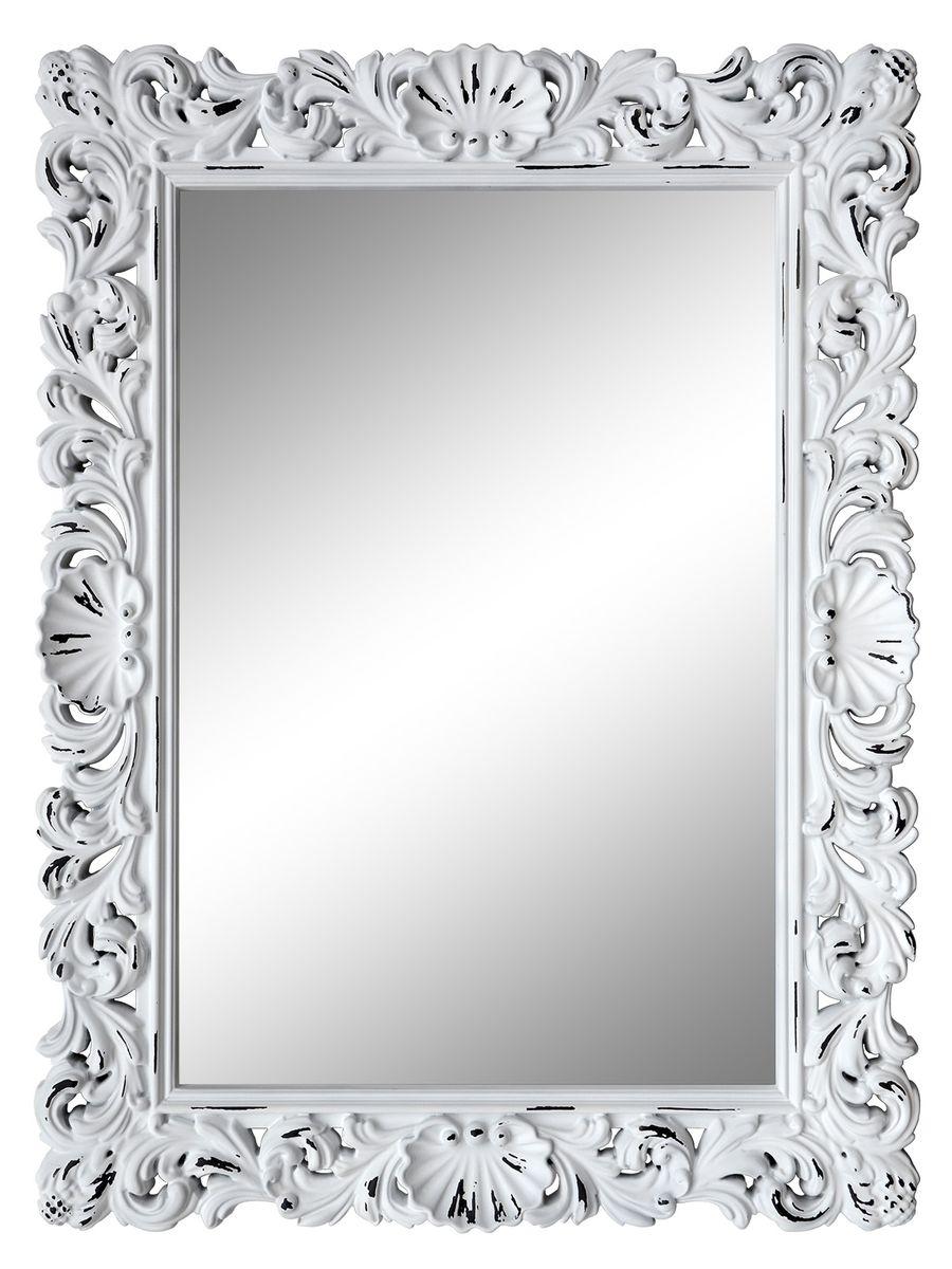 Зеркало VezzoLLi Рококо, цвет: белый, 117 х 87,5 см54 009312Зеркало выкрашено в стиле Шебби Шик - с потертостями. Ручная работа. С обратной стороны зеркало снабжено тремя металлическими подвесами для возможности разместить его и вертикально и горизонтально.