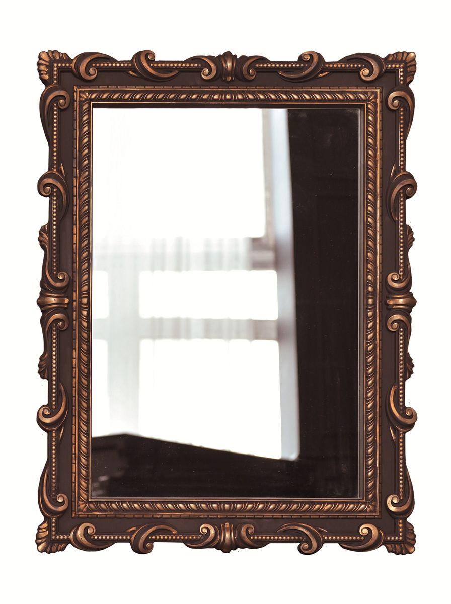 Зеркало VezzoLLi Тениа, цвет: коричневый, 94 х 72 см12-32С обратной стороны зеркало снабжено тремя металлическими подвесами для возможности разместить его и вертикально и горизонтально.
