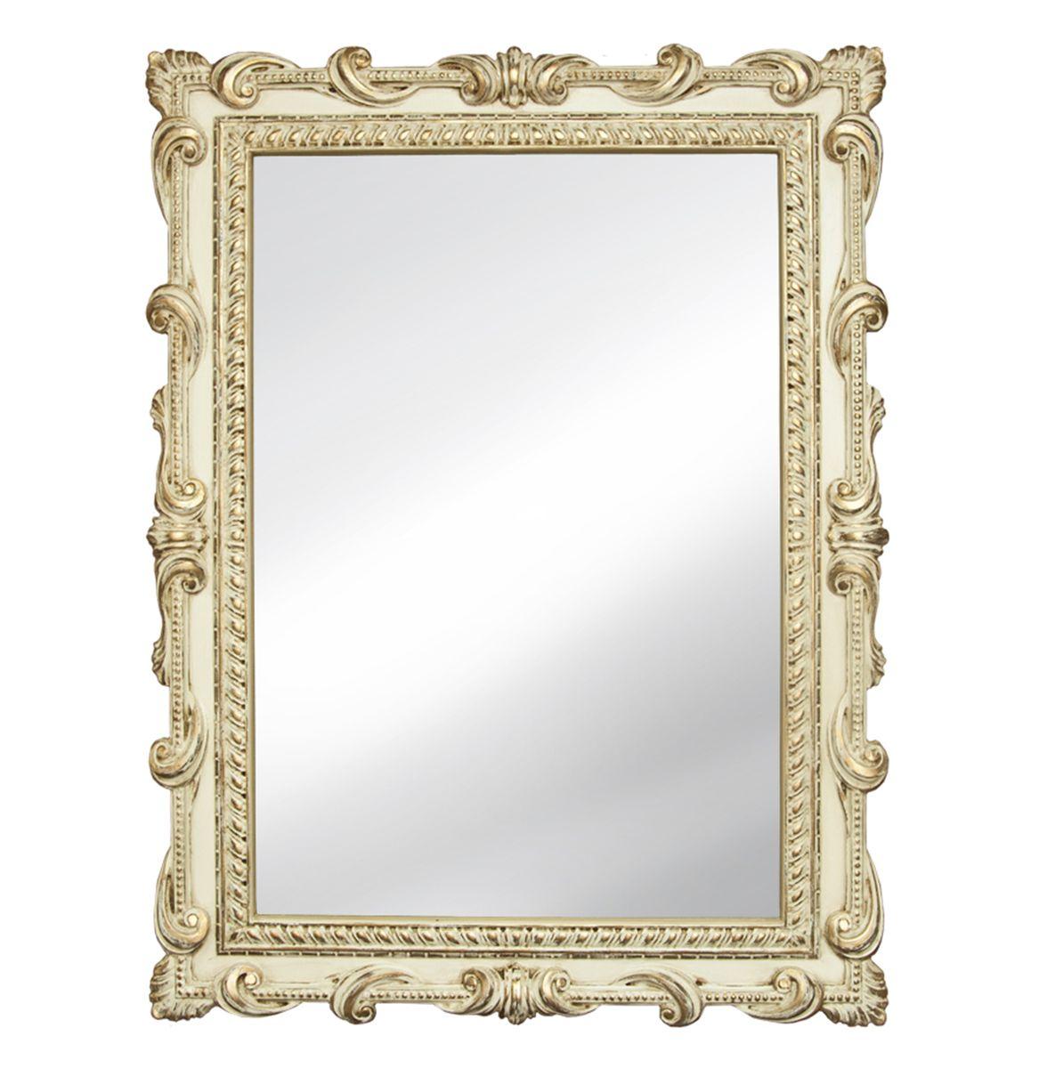 Зеркало VezzoLLi Тениа, цвет: слоновая кость, 94 х 72 см14-05С обратной стороны зеркало снабжено тремя металлическими подвесами для возможности разместить его и вертикально и горизонтально.