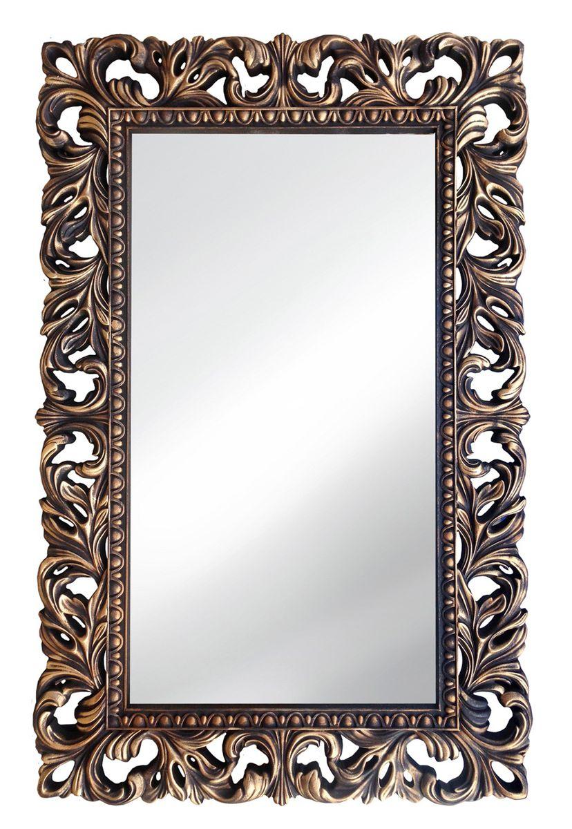 Зеркало VezzoLLi Лиа, цвет: коричневый, 95 х 63 см14-05С обратной стороны зеркало снабжено тремя металлическими подвесами для возможности разместить его и вертикально и горизонтально.