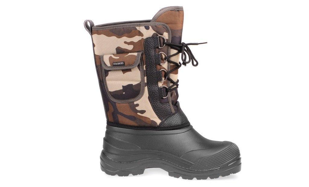 Сапоги зимние EVA Shoes Аляска (-40), цвет: черный, коричневый камуфляж. Размер 43162Зимние сапоги EVA Shoes Аляска (-40) - это легкая, теплая и удобная обувь для зимней рыбалки и охоты. Галоша выполнена из ЭВА. Голенище изготовлено из прочного оксфорда. Внутри расположен съемный чулок из натурального меха с фольгой и спанбондом. На каждом из сапогов расположен небольшой кармашек на липучке. Шнурки помогают плотно прижимать сапог к ноге.