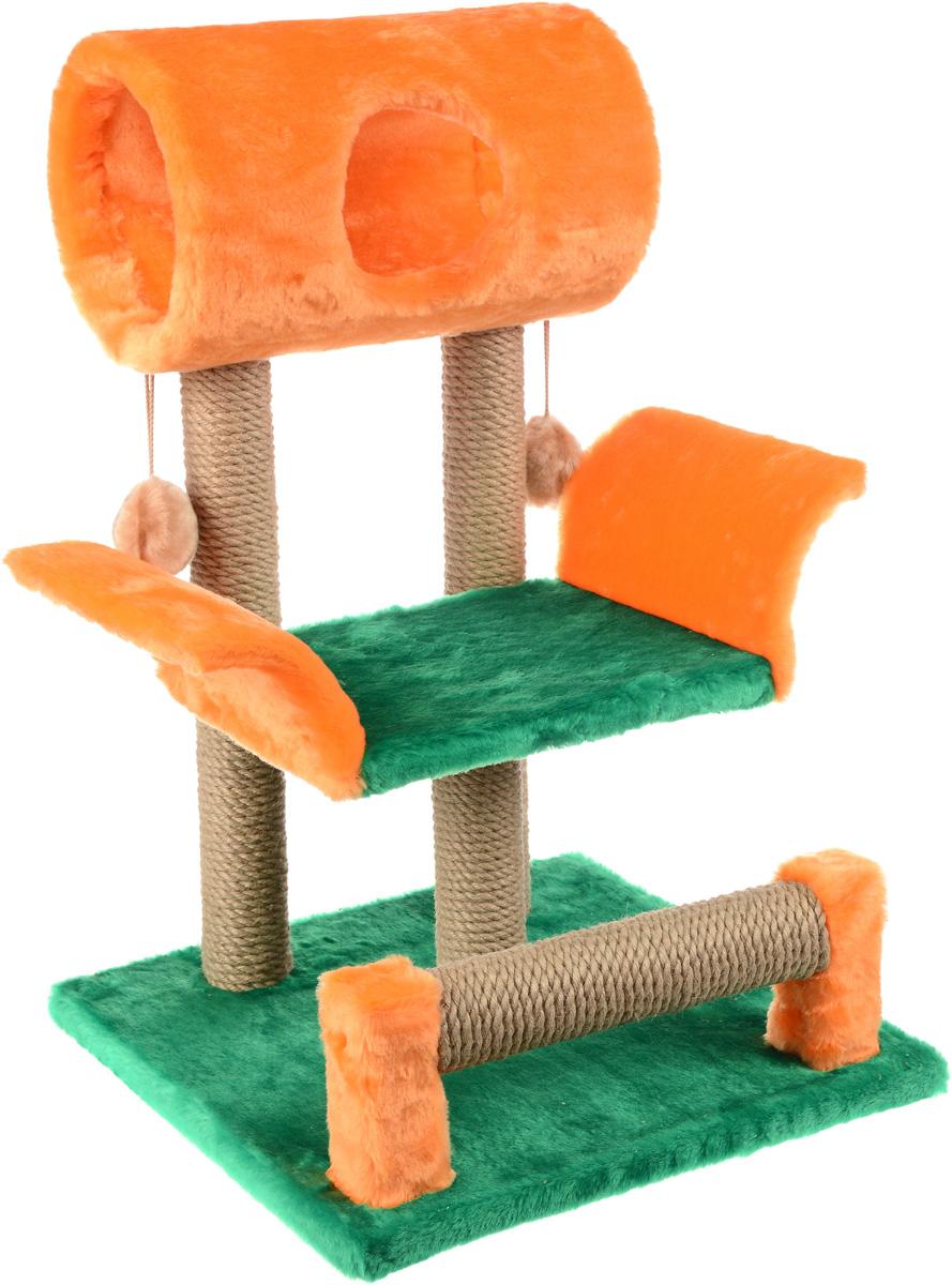 Когтеточка ЗооМарк Васька, цвет: салатовый, оранжевый, 71 х 45 х 53 смД130 Ла_серый, розовыйКогтеточка Васька поможет сохранить мебель и ковры в доме от когтей вашего любимца, стремящегося удовлетворить свою естественную потребность точить когти. Когтеточка изготовлена из дерева, искусственного меха и джута. Товар продуман в мельчайших деталях и, несомненно, понравится вашей кошке. Сверху имеется несколько висячих игрушек, которые привлекут питомца.Всем кошкам необходимо стачивать когти. Когтеточка - один из самых необходимых аксессуаров для кошки. Для приучения к когтеточке можно натереть ее сухой валерьянкой или кошачьей мятой. Когтеточка поможет вашему любимцу стачивать когти и при этом не портить вашу мебель.Диаметр домика: 20 смДлина полки: 33 смРазмер когтеточки: 71 см х 45 см х 53 см