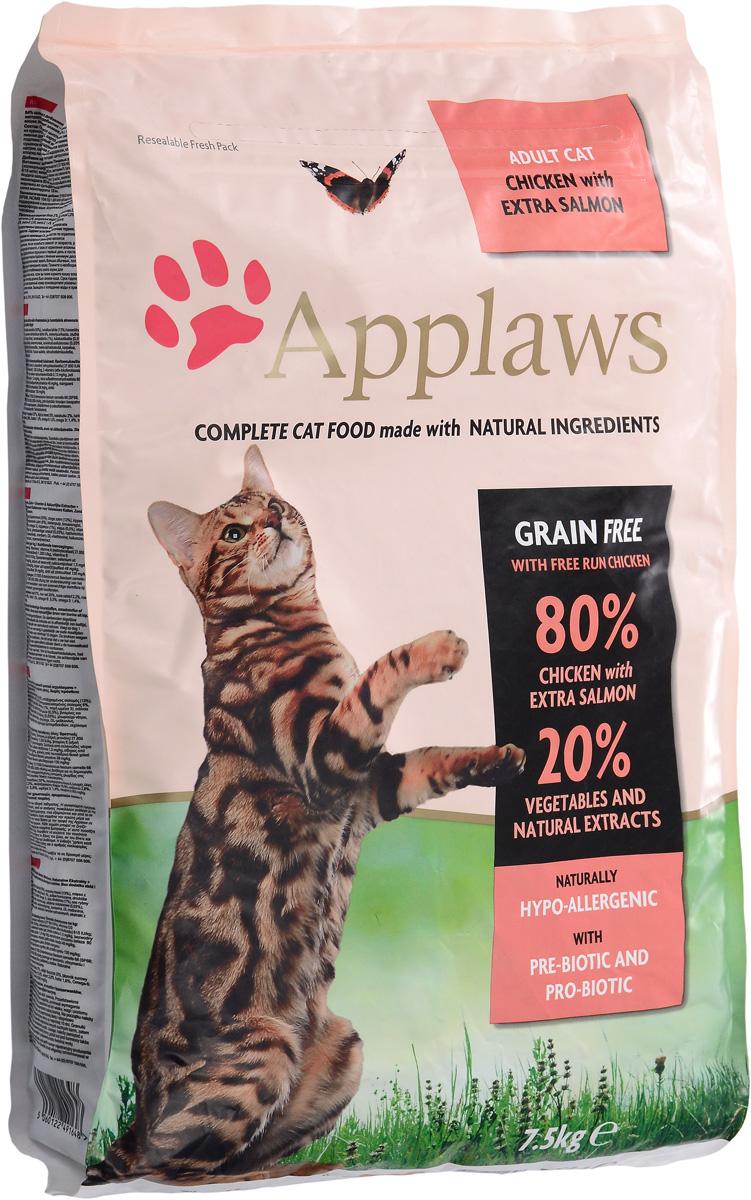 Корм сухой Applaws для кошек, беззерновой, с курицей, лососем и овощами, 7,5 кг0120710Беззерновой корм для кошек Applaws изготовлен по особым рецептам, разработанным диетологами института Великобритании. Правильная диета очень важна для питомцев, ведь она меняется в зависимости от жизненного цикла. Также полнорационный корм должен включать в себя необходимое количество витаминов и минералов. В рецепте сухого корма Applaws учтен не только перечень наиболее необходимых минералов и витаминов, но и их строгий баланс. Так как сухой корм изготавливается только из натуральных качественных ингредиентов, крокеты привлекут внимание любого, даже очень привередливого питомца. Состав: дегидрированное мясо цыпленка минимум 47%, дегидрированное филе лосося минимум 19%, молодой картофель минимум 4%, жир домашней птицы минимум 8% (источник Омега 6), подлива из мяса птицы, приготовленной в собственном соку минимум 4%, лососевый жир (источник Омега 3), свекла минимум 3%, яичный порошок минимум 3%, пивные дрожжи, клетчатка, минералы, хлорид натрия, карбонат кальция, сушеные водоросли, клюква.Пищевые добавки: витамин А 26,852 МЕ/кг, витамин D3 1,852 МЕ/кг, витамин Е 593 МЕ/кг.Микроэлементы: селен (селенит натрия) 0,13 мг/кг, йод (безводный йодат кальция) 1,75 мг/кг, железо (сульфат железа моногидрат) 61 мг, медь (сульфат меди пентрагидрад) 9 мг/кг, марганец (сульфат марганца моногидрат) 26 мг/кг, цинк (сульфат цинка моногидрат) 140 мг/кг.Прочие добавки: натуральный консервант - токоферол.Гарантированный анализ: белки 37%, жиры 19,7%, клетчатка 3%, зола 10%, кальций 2,1%, фосфор 1,4%, таурин 2000 мг/кг Товар сертифицирован.