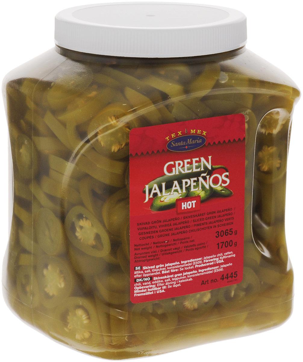 Santa Maria Зеленый перец халапеньо, 3065 гр4445Ломтики консервированного зеленого перца халапеньо Santa Maria имеют ярко выраженный острый вкус. Перец халапеньо используется для приготовления закусок, салатов, пиццы, соусов к мясу и рыбе.Уважаемые клиенты! Обращаем ваше внимание на то, что упаковка может иметь несколько видов дизайна. Поставка осуществляется в зависимости от наличия на складе.