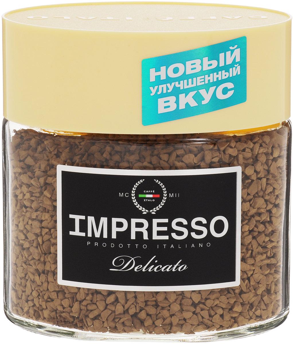 Impresso Delicato кофе растворимый, 100 г (банка)0120710Impresso Delicato - настоящий итальянский кофе, который восхищает полнотой вкуса и быстротой приготовления.В купаж кофе вошли сорта арабики из Бразилии и Ямайки с деликатным насыщенным вкусом.Уважаемые клиенты! Обращаем ваше внимание на то, что упаковка может иметь несколько видов дизайна. Поставка осуществляется в зависимости от наличия на складе.