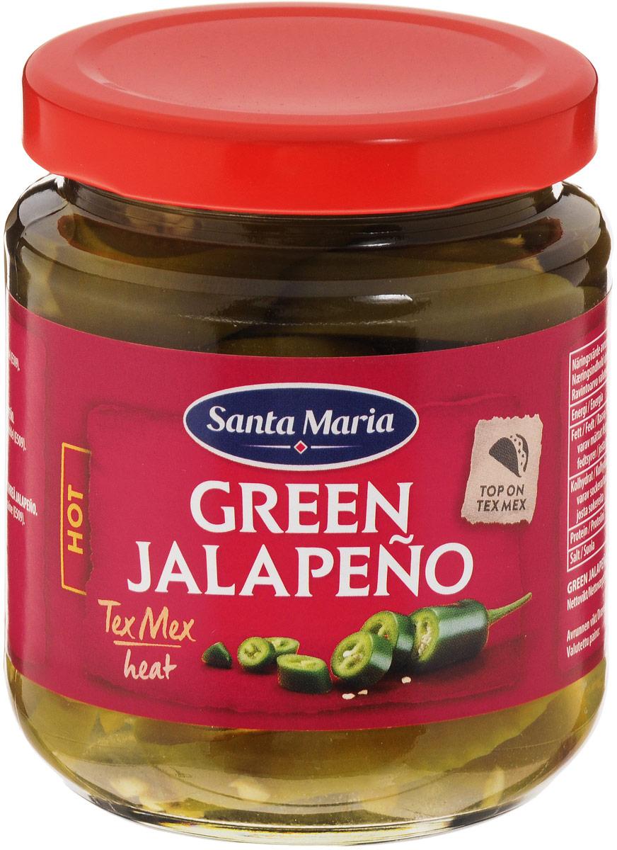 Santa Maria зеленый перец халапеньо, 215 г0120710Ломтики консервированного зеленого перца халапеньо имеют ярко выраженный острый вкус. Перец халапеньо используется для приготовления закусок, салатов, пиццы, соусов к мясу и рыбе.Уважаемые клиенты! Обращаем ваше внимание на то, что упаковка может иметь несколько видов дизайна. Поставка осуществляется в зависимости от наличия на складе.