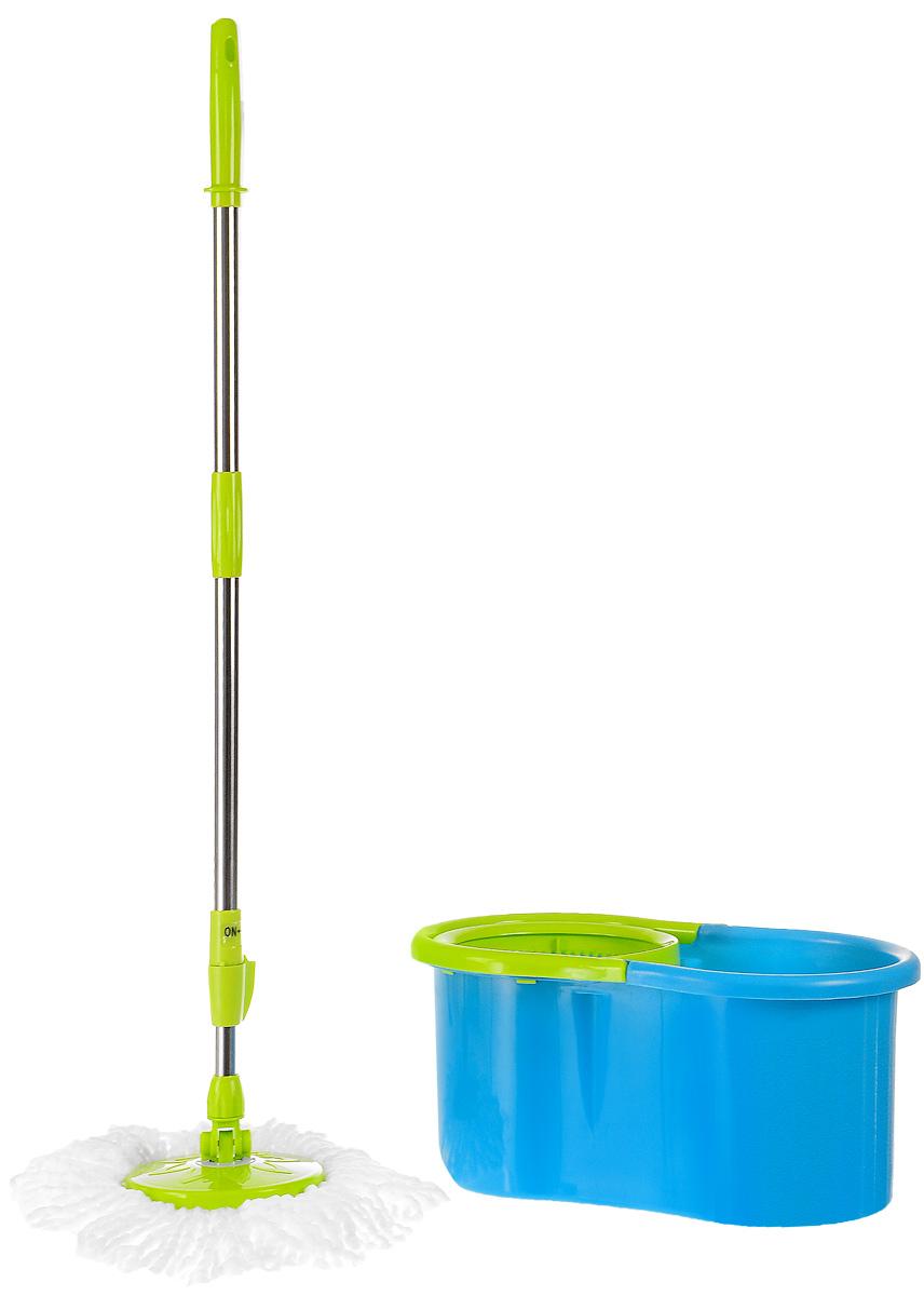 Набор для уборки Paterra Волшебный, 4 предметаSVC-300Набор для уборки Paterra Волшебный состоит из ведра с отжимом, швабры с телескопической ручкой и двумя насадками для швабры. Ведро изготовлено из прочного пластика и оснащена системой отжима. Достаточно просто установить швабру насадкой в систему отжима и повернуть. Вся лишняя вода окажется внутри ведра. Для удобства переноски предусмотрена прочная ручка. Телескопическая ручка швабры выполнена из нержавеющей стали, что гарантирует долговечность ее использования. Высота швабры может регулироваться (до 128 см). Особое крепление основания швабры к ручке обеспечивает мобильность в использовании. С ней вы без труда сможете убираться в труднодоступных местах, в углах, под мебелью. Насадки изготовлены из инновационного материала - микрофибра (70% полиэстер, 30% полиамид), которая отлично впитывает влагу, удаляет стойкие загрязнения даже без использования бытовой химии. Плюс к этому, структура насадки в виде крученых нитей обеспечивает еще большую впитываемость. Насадки можно стирать в стиральной машине. Размер швабры: 17 х 17 х 20 см. Длина рукоятки швабры: 90-128 см. Объем ведра: 6,5 л. Размер ведра: 46 х 27 х 21 см.