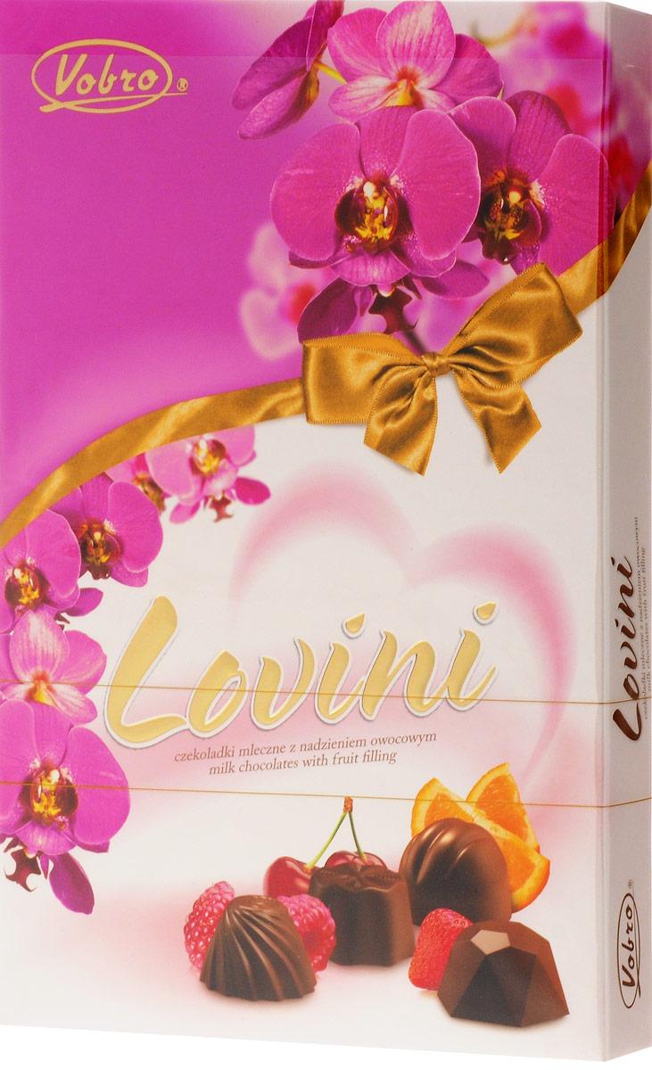 Vobro Lovini набор шоколадных конфет, 170 г0120710Набор шоколадных конфет Vobro Lovini - это прекрасное предложение. Интенсивные фруктовые начинки в каждой пралине непременно поднимут настроение! И к тому же, молочный шоколад... Само наслаждение!