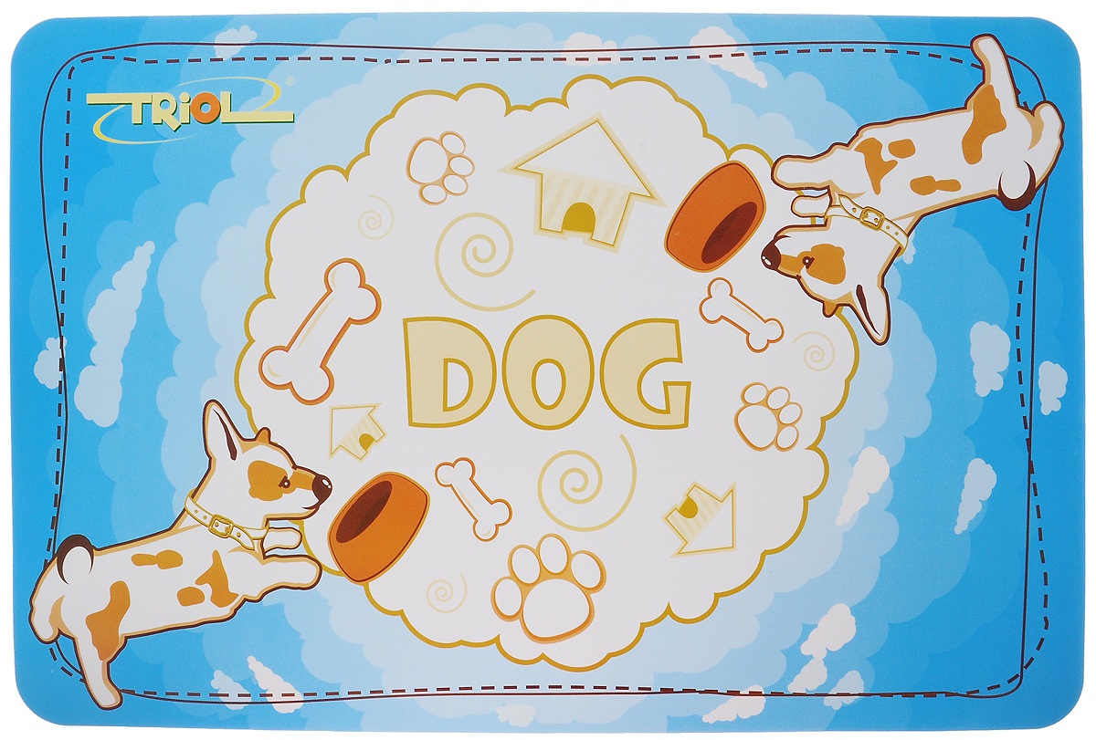 Коврик под миску Triol, 43 х 28 см0120710Коврик Triol, изготовленный из высококачественного вспененного полимера, защищает пол от загрязнений и препятствует скольжению мисок. Изделие декорировано изображением собак и надписью Dog и Triol.Коврик Triol облегчает уборку после кормления любимца, легко моется и чистится.Размер коврика: 43 х 28 см.